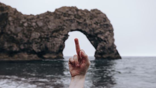 A person's hand with the middle finger raised silhouetted against the sky and ocean