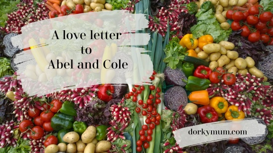 A photograph of many coloured vegetables with the text 'A love letter to Abel and Cole'