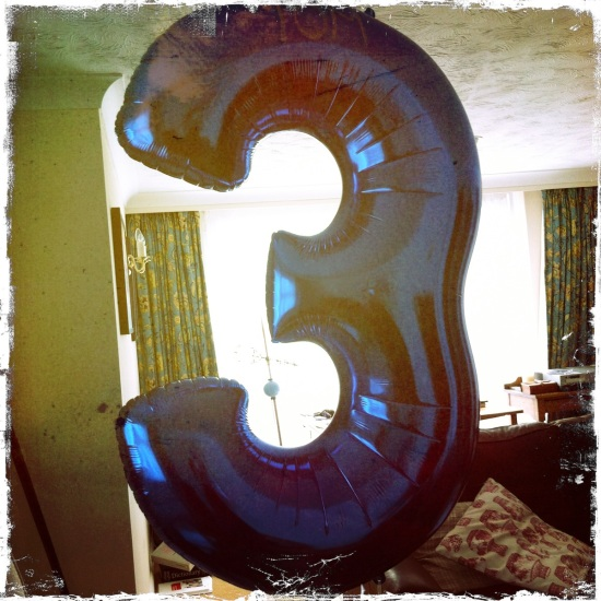 Third birthday balloon