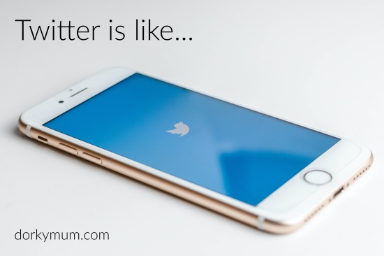 a white iphone on white background with the Twitter logo on the screen, and above is test reading 'Twitter is like...'