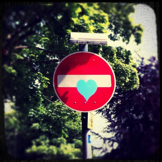 street art blue heart