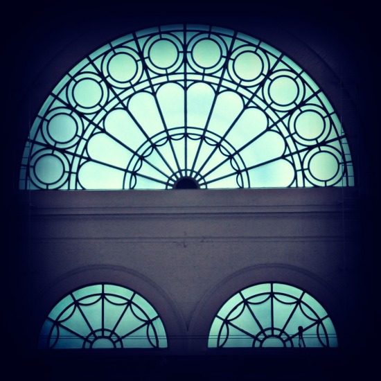 arched glass windows
