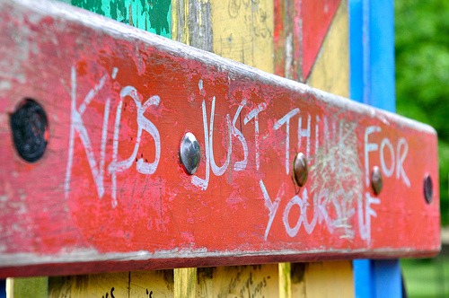 graffiti in children's playground