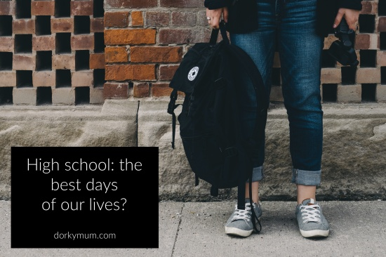 Figure in jeans and grey shoes holding a backpack in front of a brick wall, with the text 'High school: the best days of our lives?'