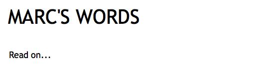 Marcs Words Blog