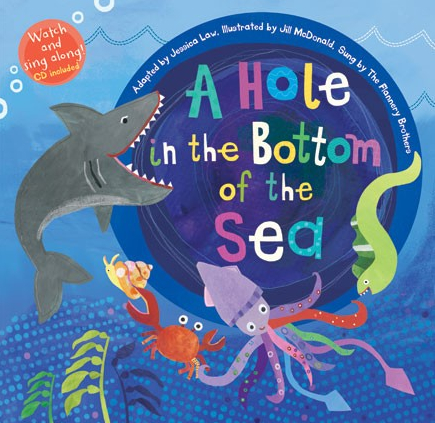 Cover image from childrens picture book 'A Hole in the Bottom of the Sea' published by Barefoot Books