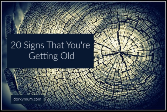 An image of the rings in a tree trunk, with the text '20 signs that you're getting old'.