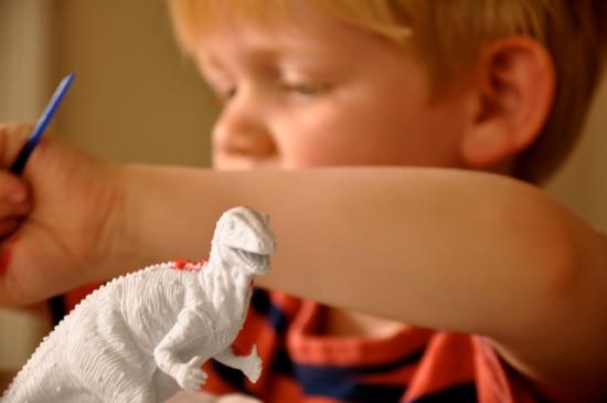 painting a dinosaur