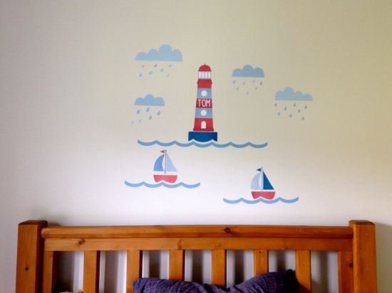 A child's bedroom wall covered with Tinyme Lighthouse themed wall stickers