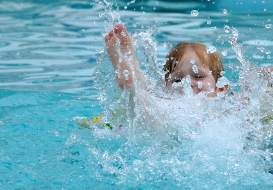 DorkySon swimming