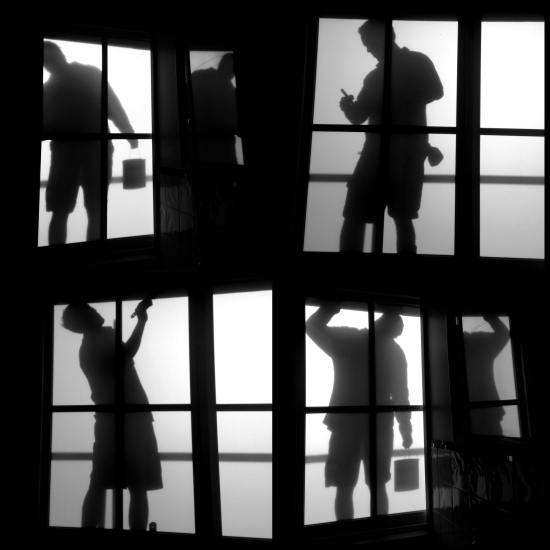 silhouettes of painters