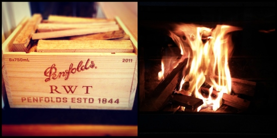 wooden wine crate kindling box