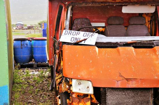 rusty red minibus Isle of Harris