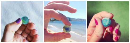 Collage of seaglass marbles from Hobart Tasmania