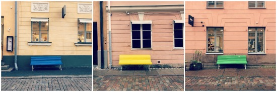 Colourful benches in Helsinki FInland