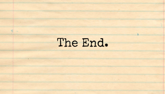 Sheet of lined paper with 'The End' typed on it.