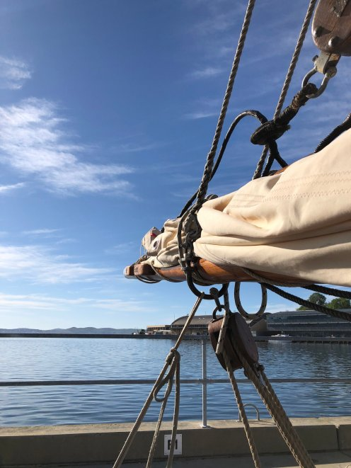 The view from SV Rhona H, old wooden tall ship in Hobart Tasmania