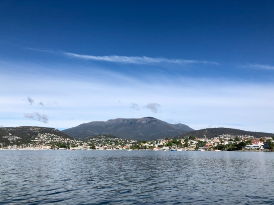 View of Hobart and Mount Wellington from tall wooden ship SV Rhona H