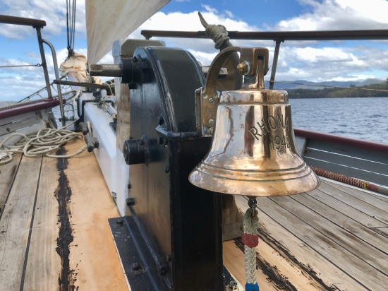 The Ship's Bell on wooden ship SV Rhona H sailing from Hobart Tasmania