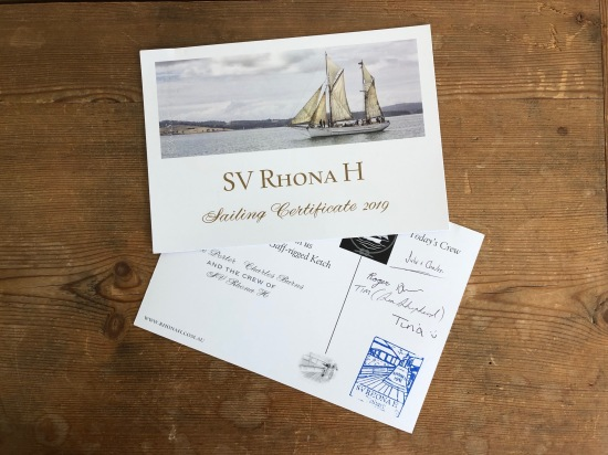 A sailing certificate from the wooden ship SV Rhona H