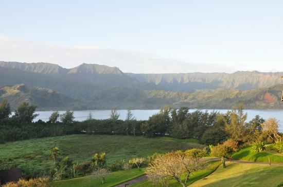 View of mountains from Hanalei Bay Resort in Kauai, Hawaii