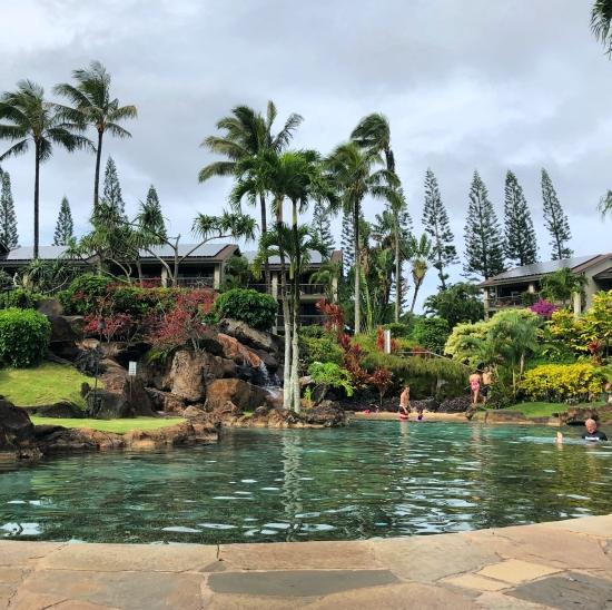 The swimming pool at Hanalei bay resort Kauai, HAwaii