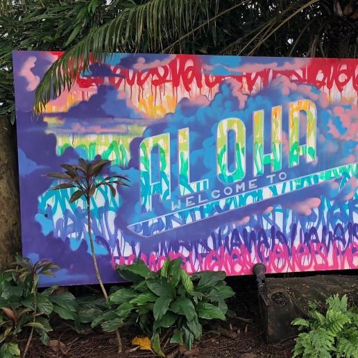 colourful Aloha sign, Hanalei, Kauai