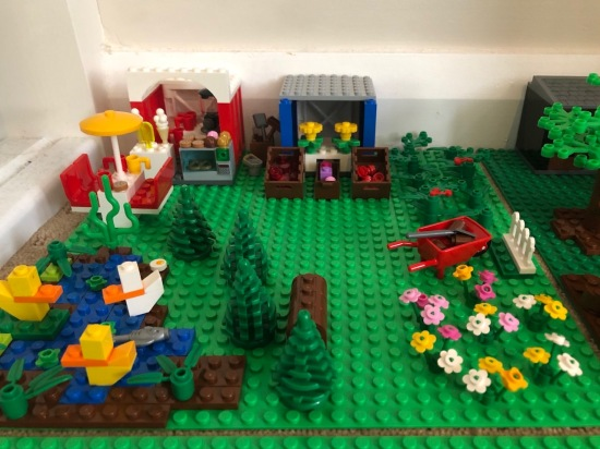 A brightly coloured Lego Farm