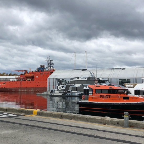 Boats at the waterfront in Hobart, Tasmania